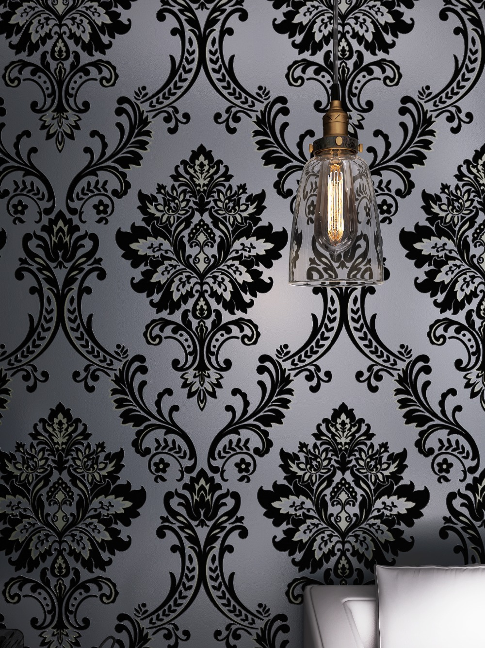 Classic Mystery Black Velvet Flocking Damask Wallpaper Textile Wallcovering купить недорого в Москве
