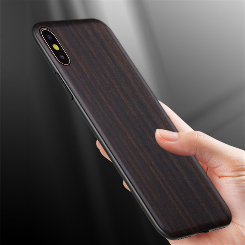 Russian Vintage Black Ebony Wood Case for iPhone XR Plain Wooden Phone Cover For iPhone XS Max 7 8 Plus Cases
