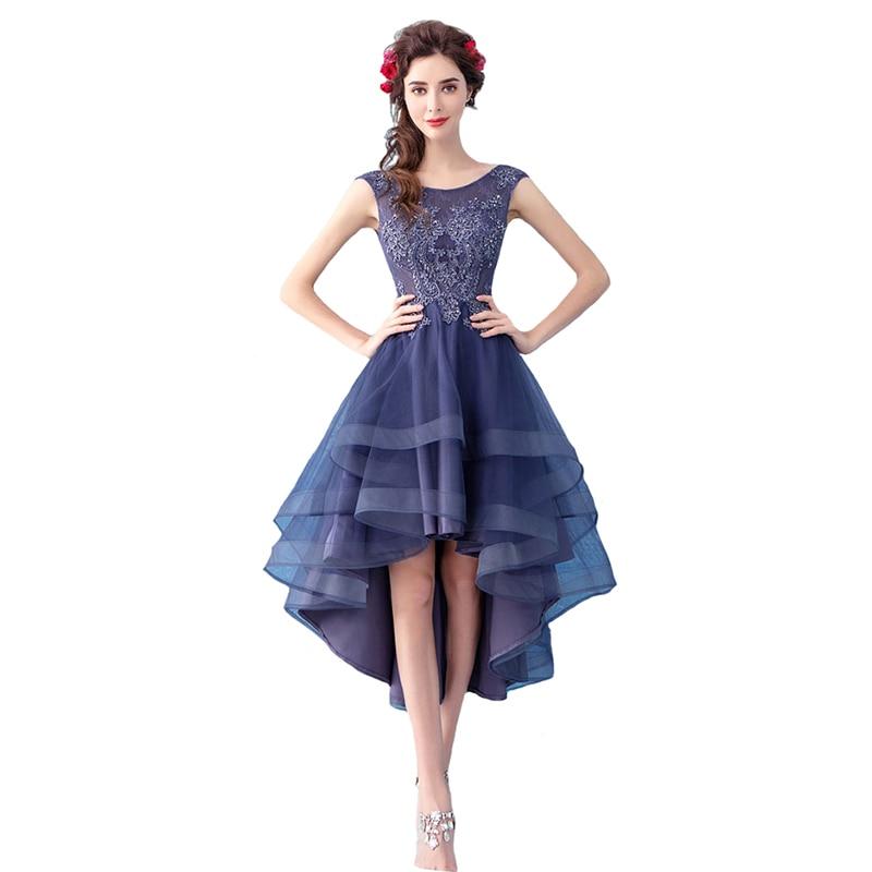 Elegant Banquet Cocktail Dress Sleeveless Lace Flower Highlow