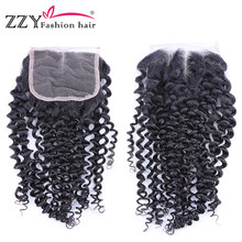 Peruvian Human Hair Lace Closure With Baby Hair Curly Wave 4x4 Swiss Lace Closure(China)