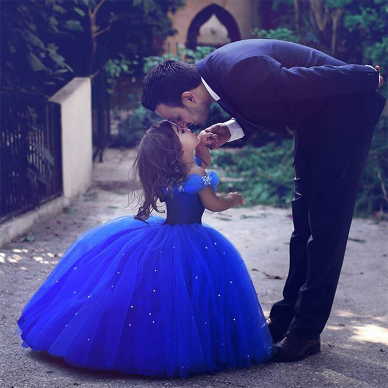 Flower Girls Dress New 2017 Girls Clothes Wedding Dress Blue V-Neck Sleeveless Bridesmaid Girls Dresses For Party Prom IY16 fashionable v neck sleeveless pure color mini dress for women