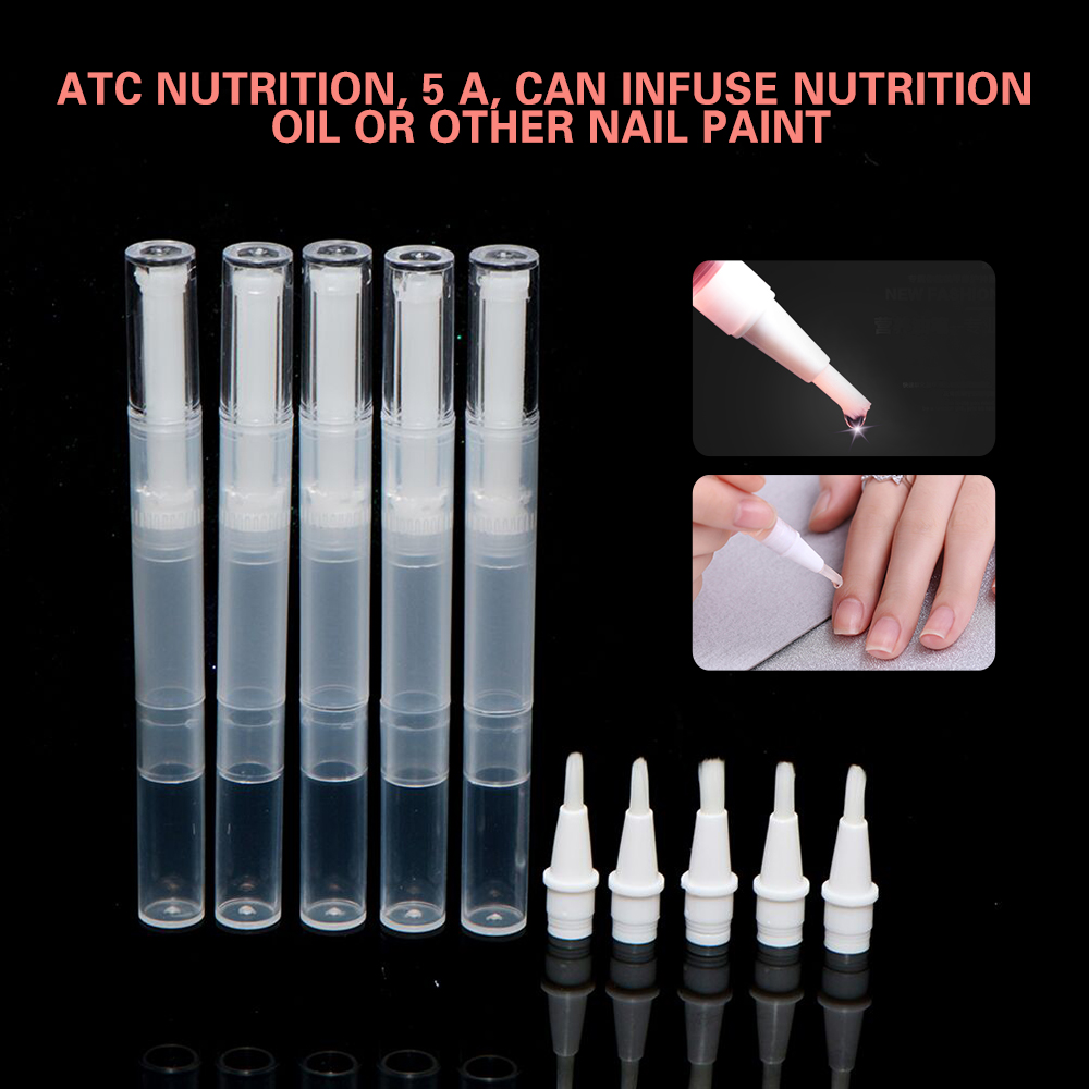 5pcs Nail Oil Empty Pen Botttle With Brush Applicator Portable Cosmetic Tool For Lip Gloss Nails Nutrition Oil Bottle