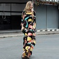 XXL!2017 New Casual Brand Plus Size Long Dress Women Batwing Sleeve Gradient Color Print Loose Dress European Style Dress Floor