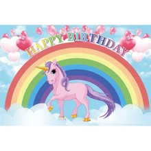 Laeacco Unicorn Birthday Party Photography Backdrops Newborn Baby Horse Rainbow Cloud  Background Computer-printed