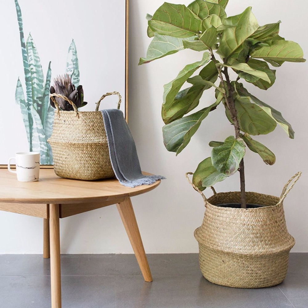 Household Foldable Natural Seagrass Woven Storage Pot Garden Flower Vase Hanging Basket With Handle Storage Bellied Basket