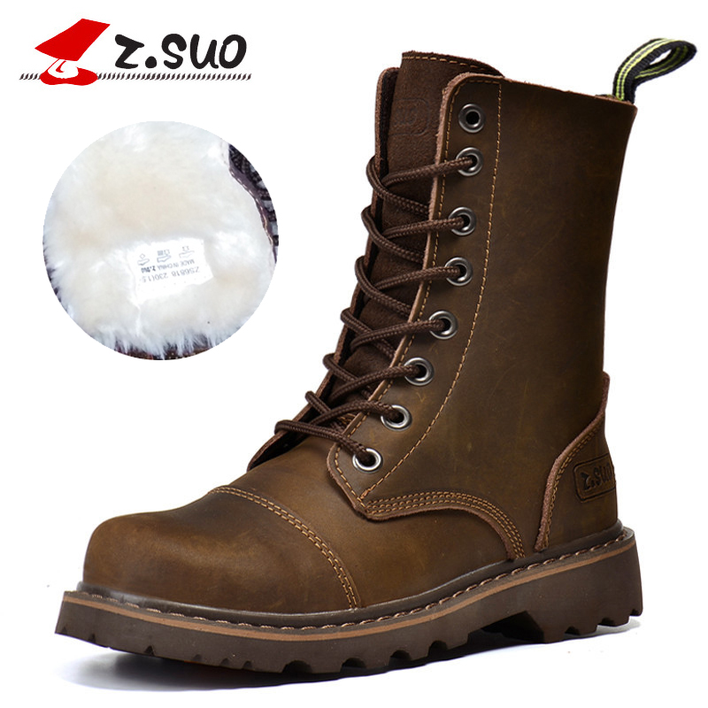 Big Size Warm Winter Women Plush Boots Shoes Woman Genuine Leather Women Mid Calf Boots Low Heel Real Leather Sexy Fashion Boots lukuco pure color women mid calf boots microfiber made buckle design low hoof heel zip shoes with short plush inside