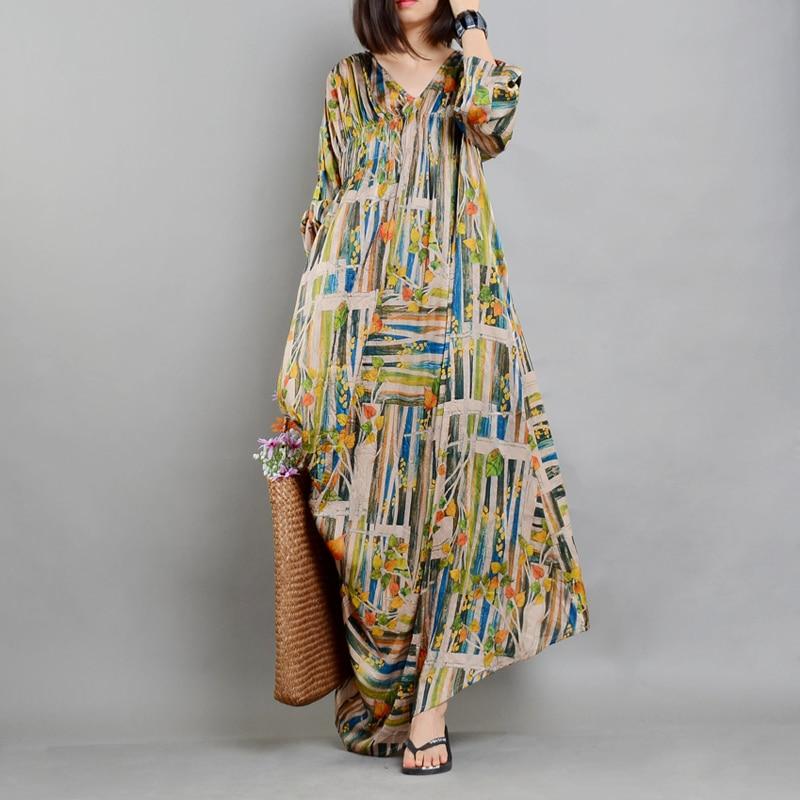 Johnature Women Floral Dress Vintage Silk V Neck Seven Sleeve 2019 New Casual Loose Fold Women