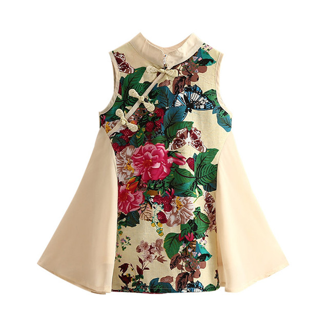 498682e615d Mudkingdom Toddler Girl Dresses Cheongsam Embroidery Designs Sleeveless  Cute Casual Children Summer Cotton Floral Clothing