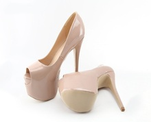 Nude Patent Leather Ultra High Heel Shoes