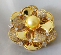 freshwater pearl brooch yellow coin flower 45mm brooch FPPJ wholesale beads nature unique