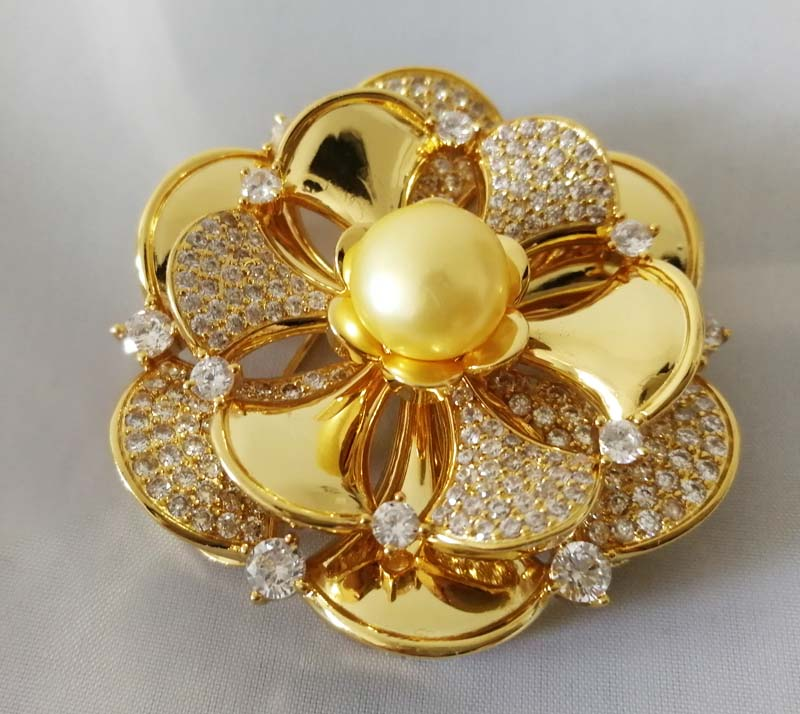 freshwater pearl brooch yellow coin flower 45mm brooch FPPJ wholesale beads nature unique faux pearl rhinestone unique brooch