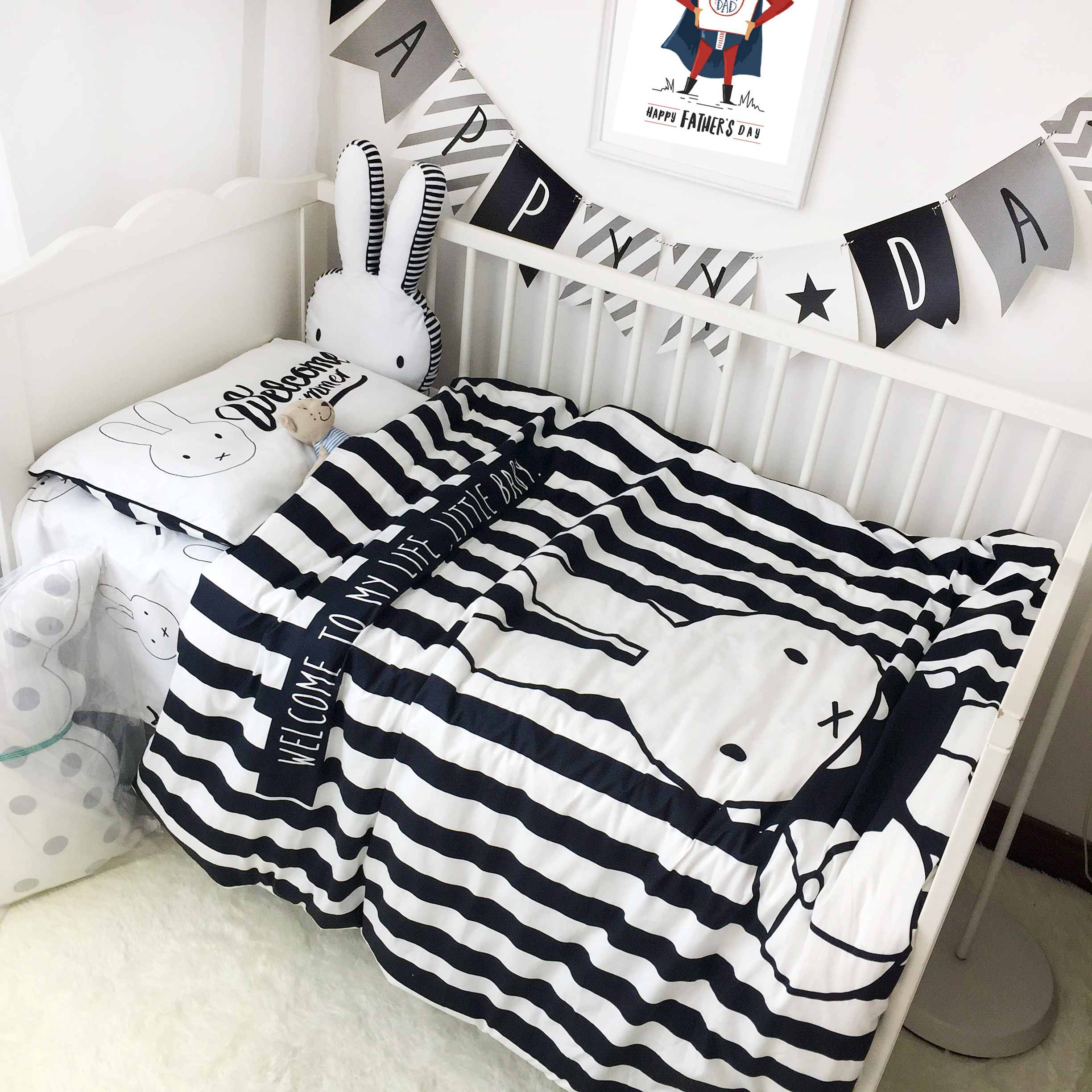 striped bedding bedroom set cot scenic of and ballerina soft on linen the sets crib black polka pink white dot sheets