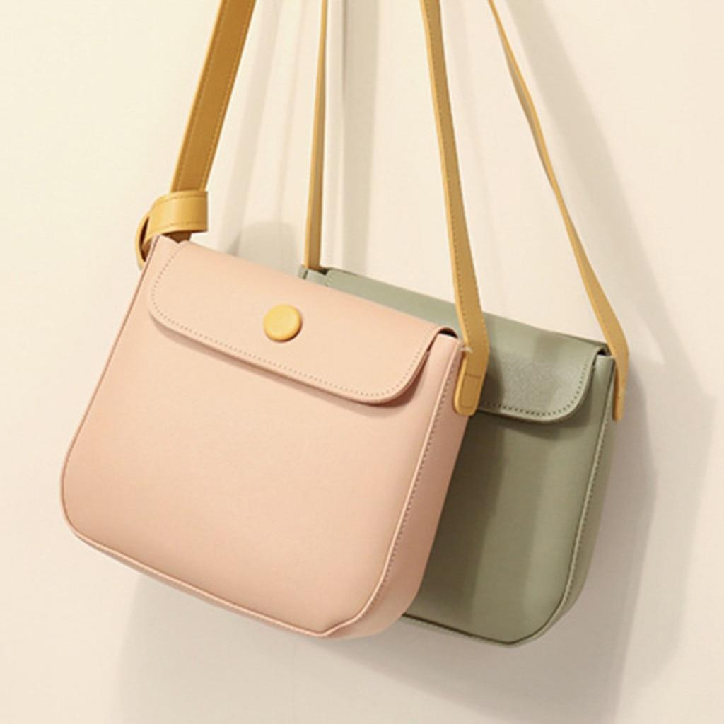 Women Bag Soft Leather Simple Diagonal Cross-Body Color Saddle Bag Small Simple