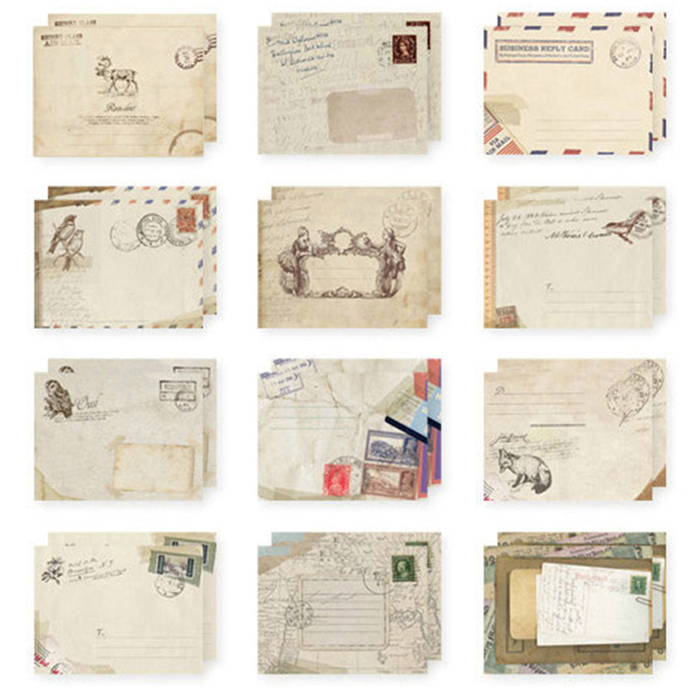 12 Pcs/pack Mini Cute Mailer Paper Envelope Retro Envelop Vintage European Style High Quality Style Random