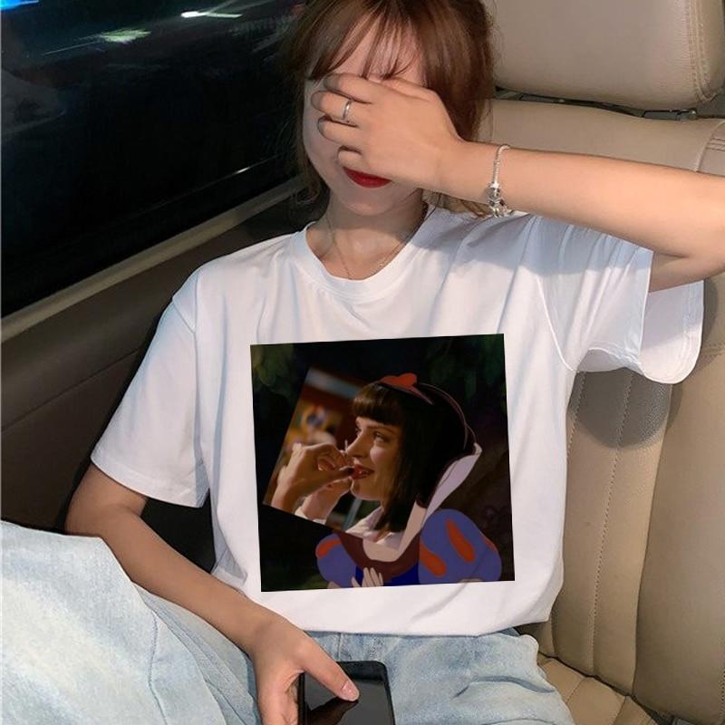New Pulp Fiction Movie T Shirt Women Harajuku Ullzang 90s Korean T-shirt Aesthetic Funny Print Tshirt Graphic Top Tees Female 6