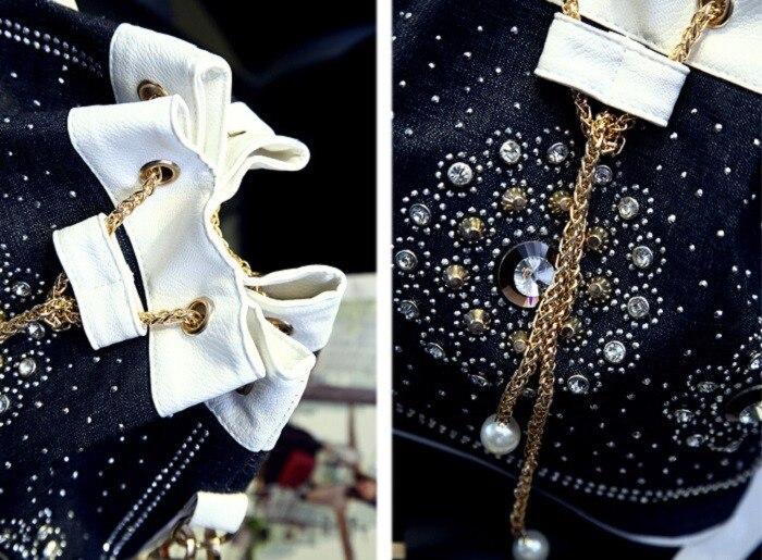 Diamante A Nuova Secchiello Oro Borsa Frizioni In Catena Tote Delle Strass Jeans Del Dei Borse Spalla Di White Denim Tracolla Donne ZBBfxqCw