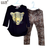 Retail 2015 New Girls Clothing Sets Baby Kids Clothes Children Clothing Full Sleeve T Shirt Leopard