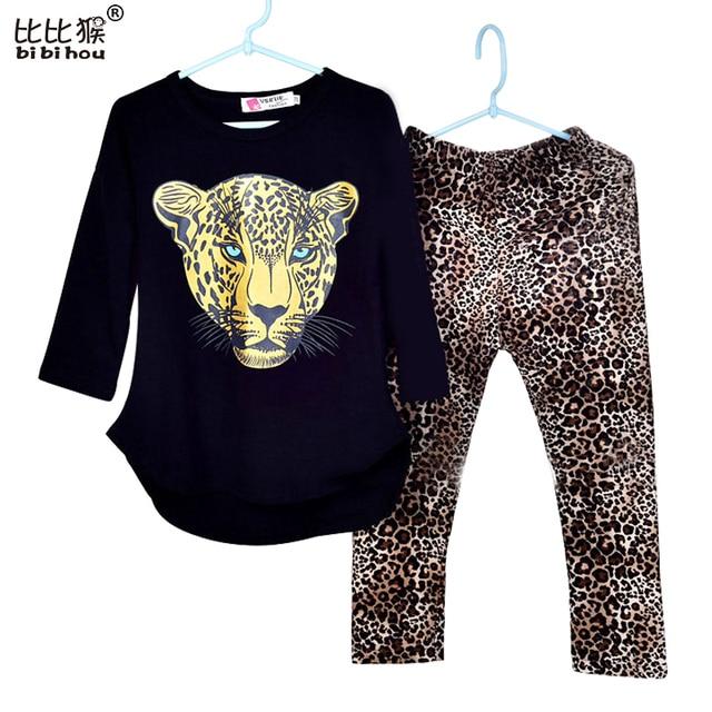 Girls Clothes Toddler Girls Clothing Sets Baby Girls Kids Clothes Children Clothing Full Sleeve T Shirt Leopard Legging Vestidos