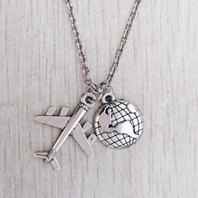 Strange necklaces, airplanes, earth, pilot gifts, airplane fan travel sweater necklaces