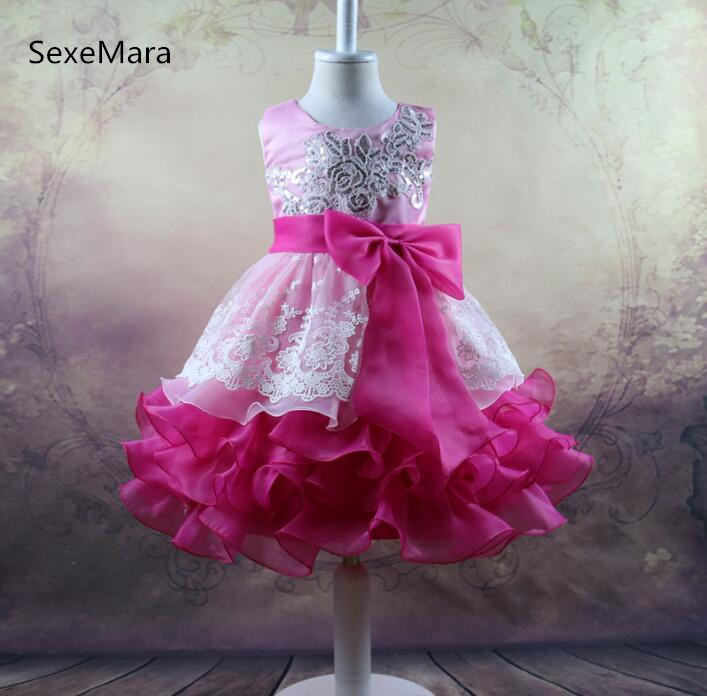 New Pink Lace Flower Girl Dresses Kids Pageant Birthday Formal Party Dress Bowknot First Communion Dress Prom Gown 2-12Y 15 color infant girl dress baby girl pageant dress girl party dresses flower girl dresses girl prom dress 1t 6t g081 4