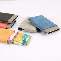 Credit Cards Holder Slim Rfid Protector Wallets Men Women PU Leather Metal Case ID Card Bag