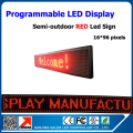P10 Red color semi-outdoor led advertising panel 24*104cm programmable led text moving display advertising led billboard