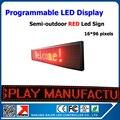 P10 cor vermelha semi ao ar livre conduziu o painel de publicidade 24 * 104 cm de texto led programável movendo publicidade display led outdoor