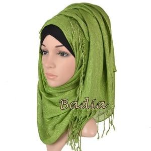 Image 5 - one piece shimmer solid plain glitter hijab scarf shinny metallic long tassel muslim viscose lurex shawl islamic head wraps