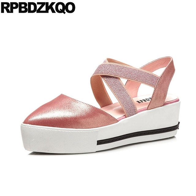 70da915e5ede Designer Sandals Women Luxury 2017 Closed Toe Wedge Shoes Pink Platform  Slingback Flatform High Heels Glitter Silver Strap Pumps