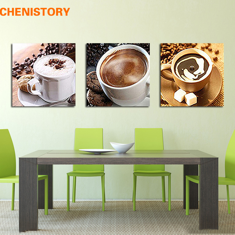 Unframed 3 panel food and cup of coffee tea modern canvas for Best brand of paint for kitchen cabinets with set of 4 canvas wall art