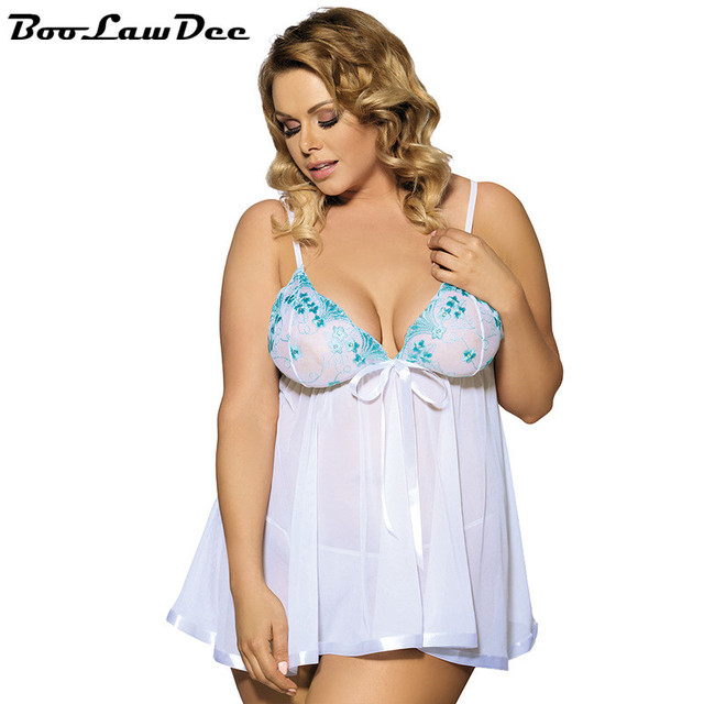 BooLawDee sexy white lace embroidery plus size lingerie set pajamas temptation spaghetti strap for women bedtime wearing 2A090