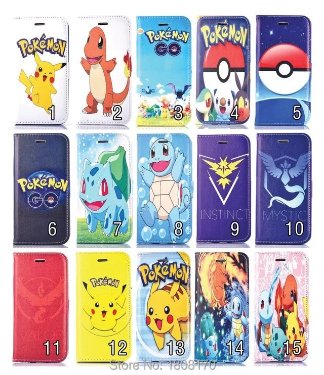 Pokemons Flip Wallet Leather Case For iPhone 7 I7 6 6S Plus 5 5S SE 4 4S Pikachus Credit Card Stand Holster TPU Skin Cover 50pcs