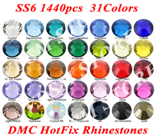 1440pcs/bag SS6(1.9-2.1mm) 31 Colors DMC Flatback Crystals Hot Fix Rhinestones,Glass Garment Accessories Gray Glue