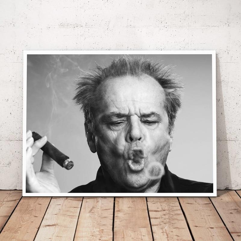 Jack Nicholson Cigar Poster Wall Art Prints , Black And White Canvas Paintings Jack Nicholson Photo Wall Picture Art Decor