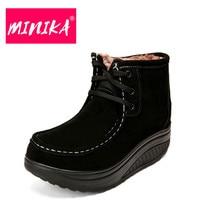 MINIKA Fashion Women Winter Shoes Super Warm Plush Insole Platform Women Ankle Boots Lace Up Durable