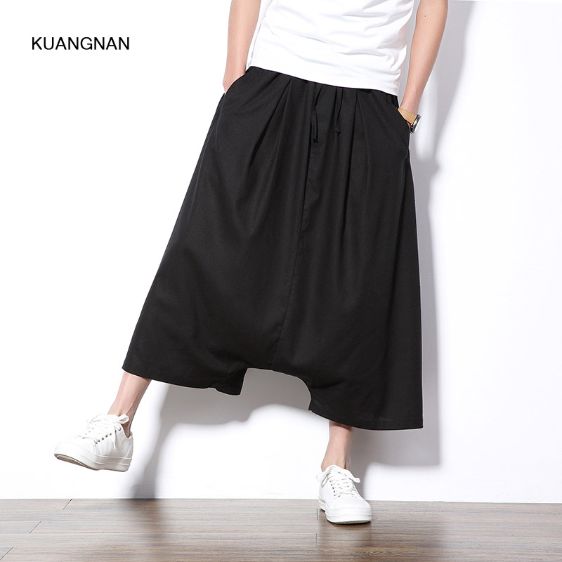 Big Size M-5XL Men Casual Wide Leg Harem Pant Low Crotch Loose Short Skirt Pant Male Fashion Show Kimono Trousers