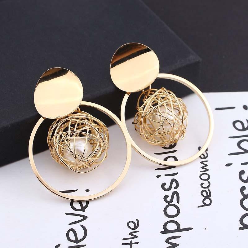Earrings Hanging Jewelry Statement-Clips Pearl Women Fashion Round Metal Geometric