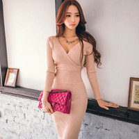 Spring Knitted Cotton Solid Skinny V Neck Sweater Dresses Casual Women Slim Hip Packaged Soft Dress