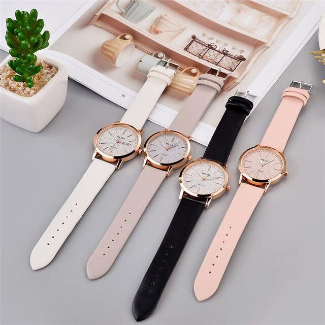 Top Brand High Quality Fashion Womens Ladies Simple Watches Geneva Faux Leather Analog Quartz Wrist Watch clock saat Gift 3