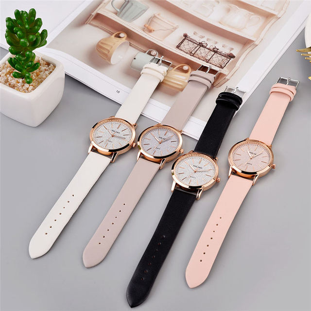 Top Brand High Quality Fashion Womens Ladies Simple Watches Geneva Faux Leather Analog Quartz Wrist Watch clock saat Gift 3