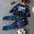2016 New Arrival Children's Clothes  Girl Full O-neck Dark Blue Printing Letters Leisure Suit Two Piece  8-9 age girl clothes