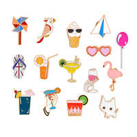 Mode Sommer Strand Brosche Cartoon Emaille Pins Katze Flamingo Sonnenbrille Ballon Denim Jacken Abzeichen Broschen für Frauen Schmuck