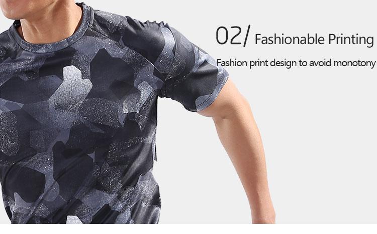 Mens Sport Running Shirt Quick Dry Basketball Soccer Tennis Gym Fitness Shirt Training T Shirt Sportswear Clothing