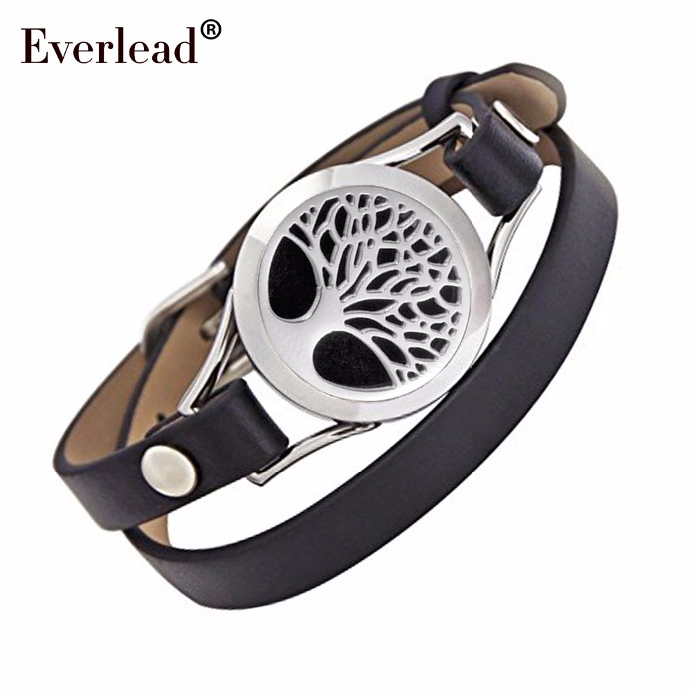 árbol de la vida pulsera de medallón de cuero de acero inoxidable Aceite esencial Aromaterapia giro medallón brazalete incluye joyero y almohadillas