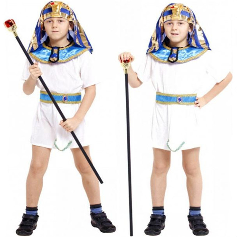 Halloween Children Egypt Pharaoh Cosplay Costume Flower Boy Dress Jumpsuits Anime Suit Party  Masquerade Christmas For Kids