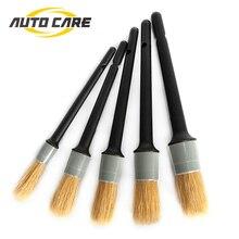 5 pcs Auto Dettaglio Brush Set Graffi per Interni ed Esterni Dettagli Cruscotto Air Vent Pulizia Cerchi Ruote Automotive
