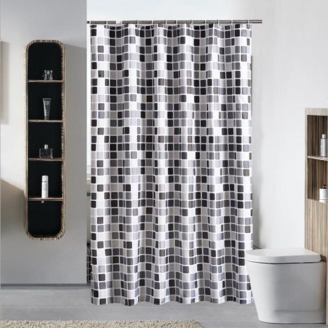 JUYANG. Bathroom waterproof shower curtain. Stylish black and white ...