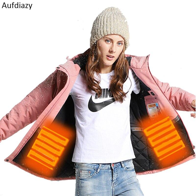Aufdiazy femmes hiver épais ajustabl USB chauffage randonnée veste femme Trekking Camping Ski coupe-vent imperméable manteau IW003