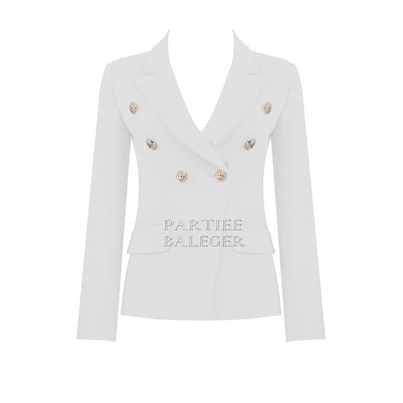Conception Party 2019 marine Bleu Manteau Nouvelle Club rouge Chic Turn Femme Celebrity Outwear Longues blanc Noir Collar Arrivée Manches Veste down Bouton D'or qXqP1f