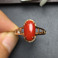 Fine Jewelry Real 18K Rose Gold Natural Red Precious Coral Italy Origin Gemstone Certificated Female Rings for Women Fine Rings